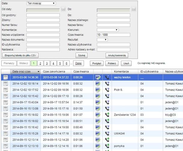 Vidicode Arana - kryteria wyszukiwania i lista nagrań